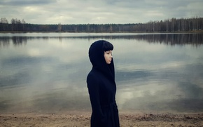 Picture girl, lake, galaxy, samsung, Maxim Guselnikov, Karina Kim, Feeling Blue, Mobile Photography
