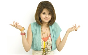 Picture music, smile, oops, Girls, beauty, 1920x1080, doll, Selena Gomez, wonder, ;-)