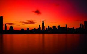 Picture sea, Sunset, skyscrapers, calm