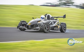 Picture Top Gear, Cars, Speed, Front, Day, Smoke, Stig, Ariel Atom, Track, Drifting
