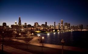 Picture night, city, Park, skyscrapers, USA, Chicago, Illinois