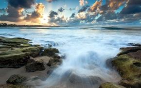 Picture sea, sunset, stones