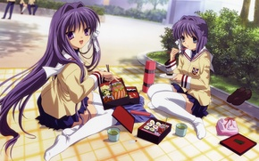 Picture stockings, plaid, clannad, school uniform, sisters, lunch, thermos, kyou fujibayashi, ryou fujibayashi, Bento, by kazami …