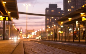 Picture road, the city, street, the evening, bokeh