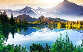 Picture the sky, trees, mountains, lake, haze