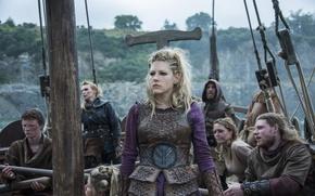Wallpaper look, ship, Lagertha, Katheryn Winnick, clothing, The Vikings, Vikings