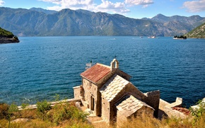 Picture Montenegro, Tivat, Kotor fjord, the little Church, Lepetane