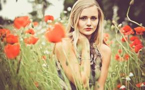 Picture eyes, flowers, lips, bracelet, field of flowers, eyes, flowers, bokeh, bokeh, lips, bracelet, field of …