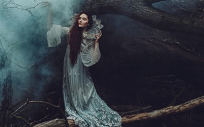 Picture forest, girl, trees, pose, fog, trunks, the darkness, hands, dress, fairy, twilight, Princess, fabulously, nymph, …