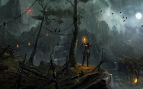 Picture birds, rain, the moon, lightning, torch, TOMB RAIDER, girl., Lara Croft