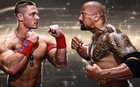 Picture John Cena, John Cena, Rock, The Rock, Dwayne Johnson, Dwayne Johnson, WWE