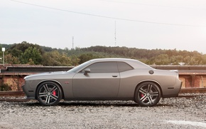 Picture Auto, Trees, Tuning, Machine, Dodge, Challenger, Rails, Crushed stone