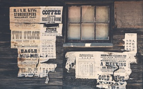 Picture wall, wood, paper, advertisements, Wild West