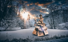 Picture winter, forest, girl, clothing, packages