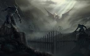 Picture mountains, rocks, dragon, gate, art, monsters, statues, Fallen Enchantress