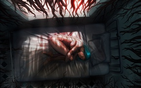 Wallpaper tentacles, girl, roots, art, Gina Nelson, nightmare, bed