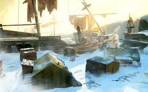 Picture snow, The wrecked ship, tents