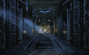 Picture candles, temple, statue, benches, skyrim, temple of talos