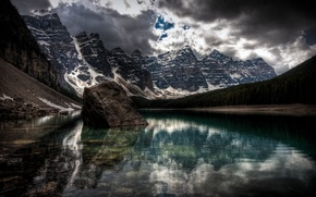Wallpaper the darkness, lake, snow, clouds, Mountains
