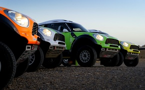 Picture Auto, Yellow, White, Green, Orange, Lights, Mini Cooper, Rally, Dakar, Dakar, SUV, Rally, Four, MINI, …