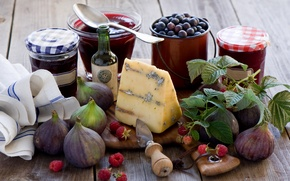 Picture berries, raspberry, cheese, still life, jam, figs