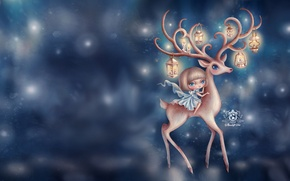 Picture blue, deer, girl