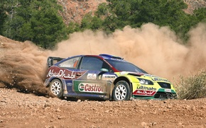 Picture Ford, Auto, Dust, Sport, Machine, Turn, Race, Skid, Focus, WRC, Rally, In Motion