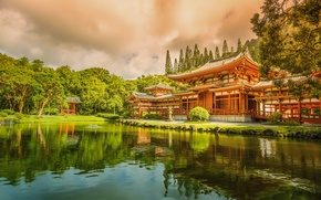 Picture Hawaii, temple, Buddhist, the island of Oahu