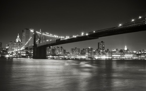 Picture night, the city, lights, Strait, New York, lighting, black and white, USA, USA, Brooklyn bridge, ...
