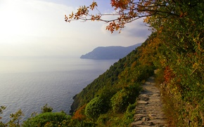 Picture sea, autumn, the sky, trees, mountains, Italy, track, Cinque Terre, Liguria