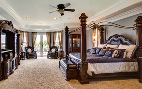 Picture design, style, tree, bed, chairs, luxury, bedroom