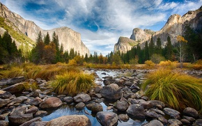 Picture forest, landscape, mountains, Park, river, Yosemite, Waterfall, Valley, Fog, National Park, Tunnel