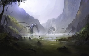 Picture mountains, fog, lake, art, snakes, chain
