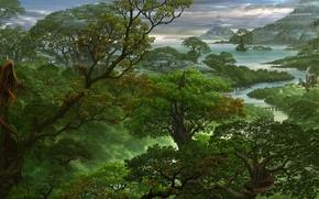 Picture forest, trees, mountains, fog, river, dragon, art, haze, ucchiey, if kazama uchio