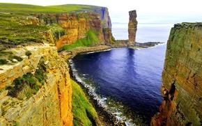 Picture grass, ocean, rocks