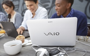 Picture macro, people, coffee, headphones, laptop, Sony, Vaio