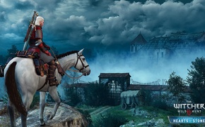 Picture fog, horse, the Witcher, Geralt, DLC, The Witcher 3: Wild Hunt, Supplement, The Witcher 3: …