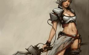 Picture woman, sword, wars, armor, fantasy, art
