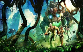 Picture robot, jungle, monkey, trip, Enslaved. Odyssey to the West