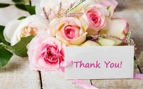 Wallpaper flowers, flowers, thank you, bouquet, cards, thank you, roses, bouquet, card, roses