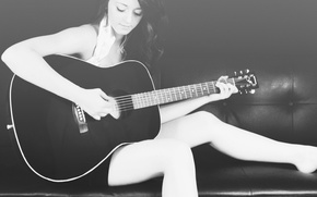 Picture background, sofa, guitar, black and white, Girl, brunette, woman, gitar