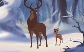 Picture winter, forest, snow, cartoon, Bambi, deer
