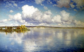 Picture the sky, water, clouds, trees, landscape, lake, reflection, shore, picture, painting, Kryzhitsky