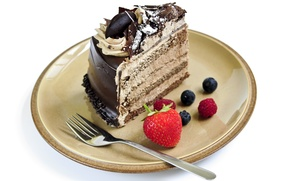 Picture raspberry, chocolate, blueberries, strawberry, plate, cake, cake, plug, cake, cream, dessert, cakes, cake, sweet, chocolate, ...