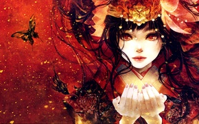Picture look, girl, butterfly, face, anime, hands, art, kimono