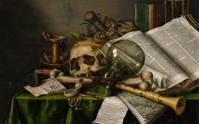 Picture Evert Collier, Edwaert Collier, still life with books, Vanitas