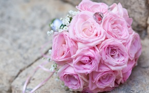 Picture gentle, roses, bouquet, ring, pink, wedding, wedding, rings