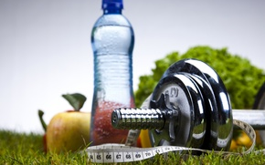 Picture water, sport, apples, bottle, fitness, dumbbell