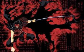 Picture fog, katana, the demon, fist, stand, combat, bloody, rags, Kurogane, Tsubasa reservoir chronicle