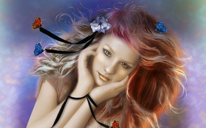 Picture flower, look, girl, butterfly, face, background, hair, hands, art, painting, ribbons